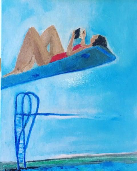 Diver Reading Her Kindle