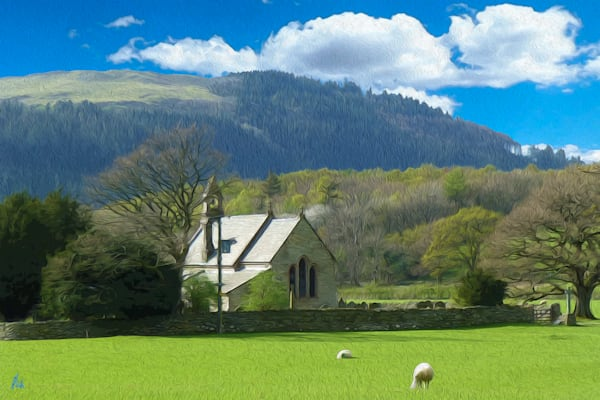 St Bega's Church, print of photograph of St Bega's Church, The Mirehouse in the Lake District, England for sale as digital art by Maureen Wilks