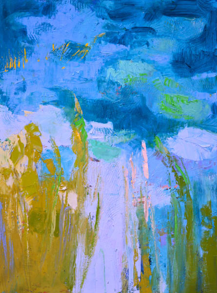 Abstract Water Lilies Oil Painting, Original Art by Dorothy Fagan