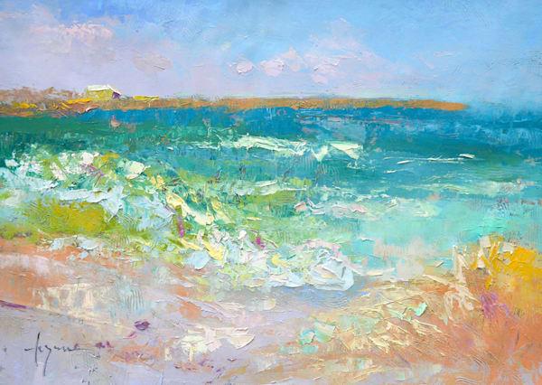 Ocean Waves Painting, Original Oil by Dorothy Fagan