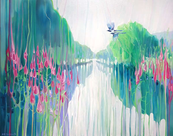 A semi abstract original oil landscape painting of a sussex riverbank with wildflowers and magpies