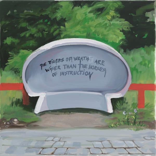 Suburban Bus Stop By The School Art by Trine Churchill