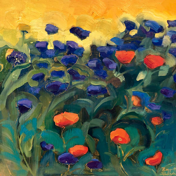 """""""Where Your Glory Dwells 140"""" Veteran Garden Plein Air Painting With Poppies and Cornflowers by Monique Sarkessian."""