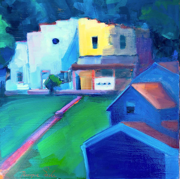 "Where Your Glory Dwells 138""  Funky Duplex House with Round Windows Plein Air Painting by Monique Sarkessian, 12""x12""."
