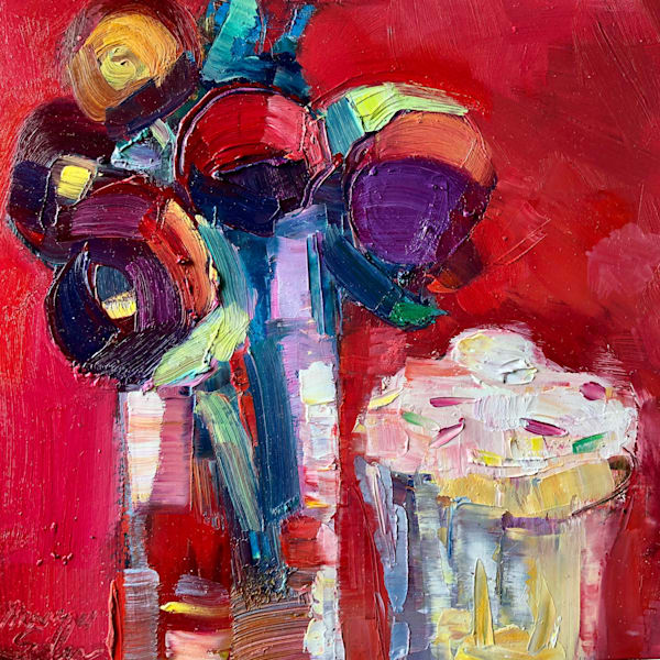 """Beautiful """"Still Life With Peonies, Ranunculus and Cupcake,"""" expressionist oil painting by Monique Sarkessian."""