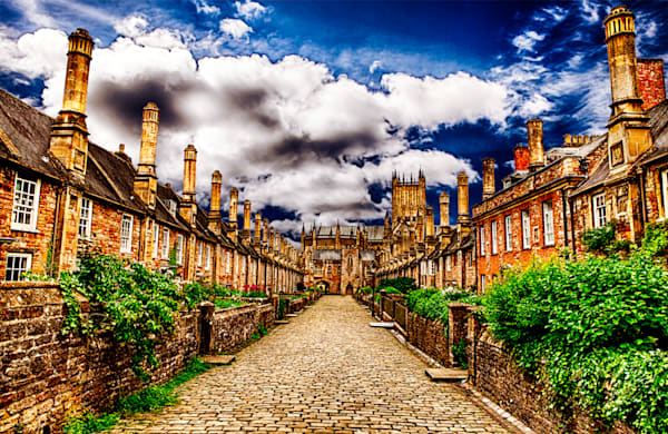 Vicars Close, Wells Abby - Art of England Print by Christopher Gatelock