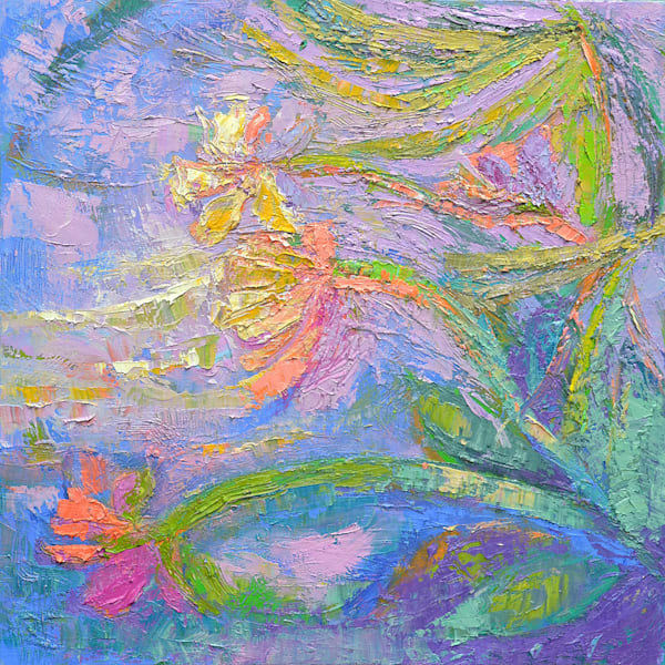 Coral Pink Orchid Original Oil Painting by Dorothy Fagan