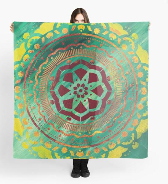 Green Mandala Scarf | Marci Brockmann Art, Decor & Accessories