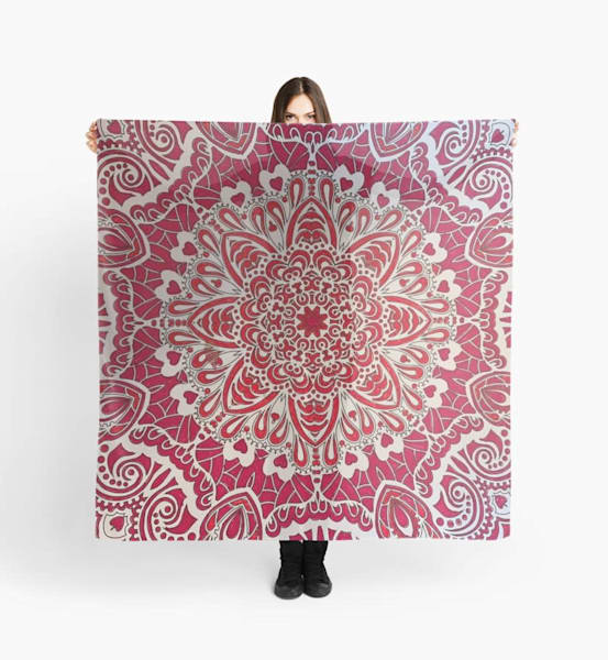 Red Mandala Scarf | Marci Brockmann Author, Artist, Podcaster & Educator