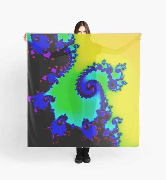 Yellow Blue Fractal Scarf | Marci Brockmann Author, Artist, Podcaster & Educator