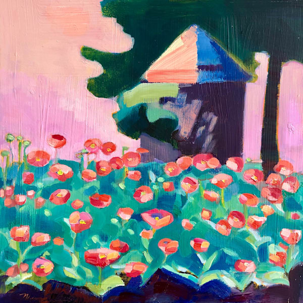 """Poppy Farm 4"" plein air painting  by Monique Sarkessian is done with oil paint on wood.panel 12""h x 12""w on wood panel mounted in a white maple wood floater frame 1.5"" deep.​"