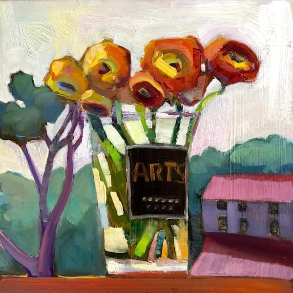 """Where Your Glory Dwells 139 (Still Life With Yellow, Orange and Red Ranunculus)"" plein air landscape/still life combo oil painting by Monique Sarkessian."