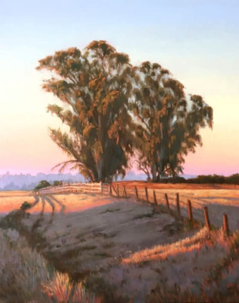 Eucalyptus in the Morning Light, original California landscape painting by Terry Sauvé