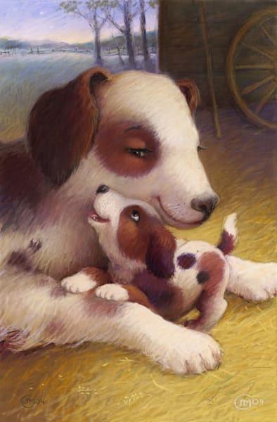 Arf-Arf Mama! print of a pastel drawing puppy and mama dog