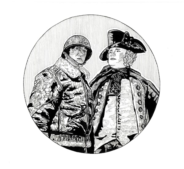 Original portrait of George Washington and George Patton.