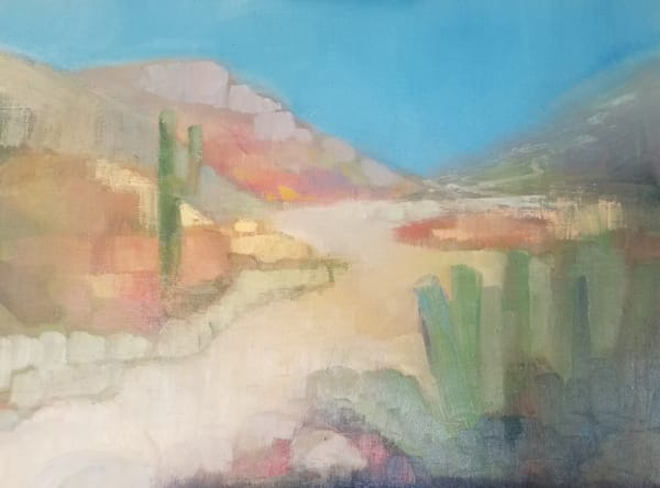 "Arizona Desert Abstract Painting ""Morning Glow in the Desert"" by Peg Connery-Boyd"