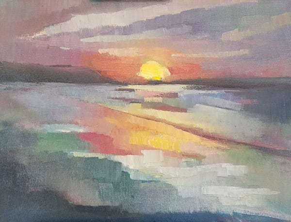 "Abstract oi painting sunset Rhode Island ""Warm Reflections"" by Peg Connery-Boyd"