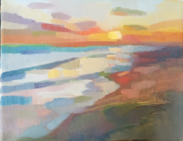 Abstract oil painting beach sunset by Peg Connery-Boyd