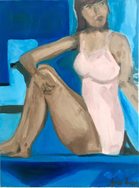 swimmer in pink oil painting fine art print