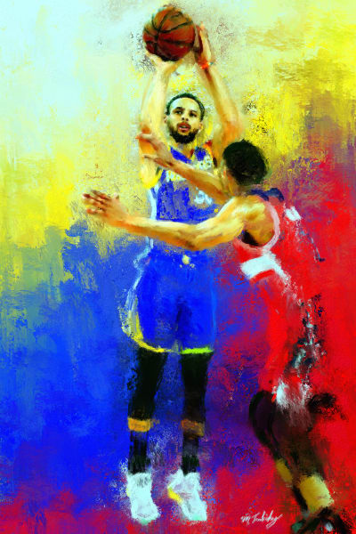 Stephen Curry Painting | Sports artist Mark Trubisky | Custom Sports Art