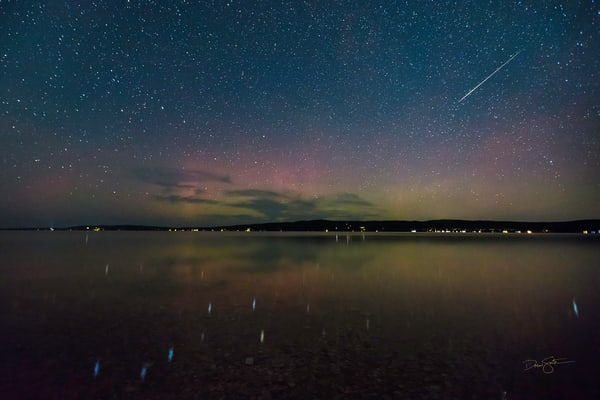 Meteor and Big Dipper over Crystal Lake