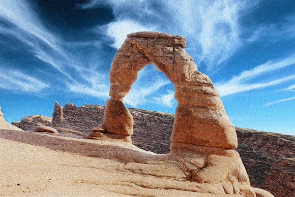 Starry Delicate Arch, print of photograph of Delicate Arch, Arches National Park, Utah, for sale as digital art by Maureen Wilks