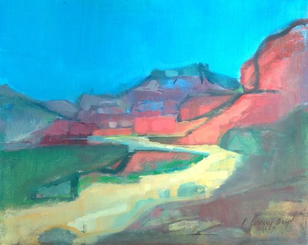 "Sedona Abstract Oil Painting ""Cool Colors in Sedona"""