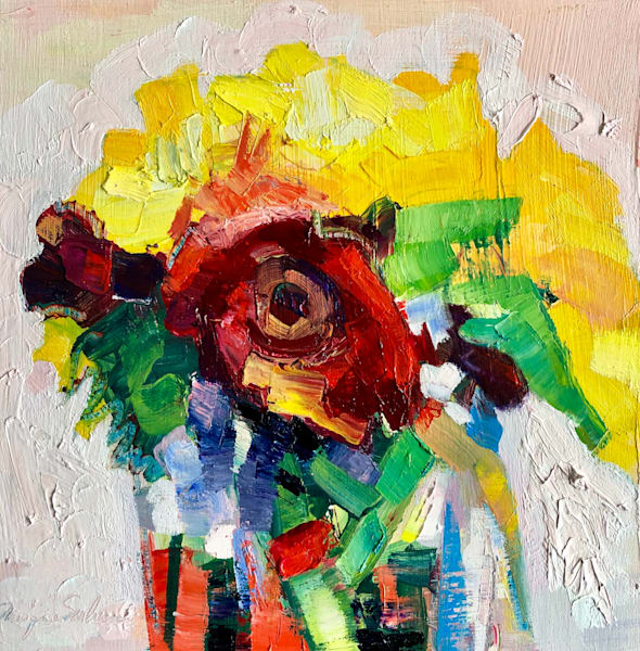 "Still Life with Sunflowers and Red Gerbera Daisies 2"". Fantastic still life  plein air . Beautiful sunflowers with deep red gerbera daisies rendered in oil paint on wood."