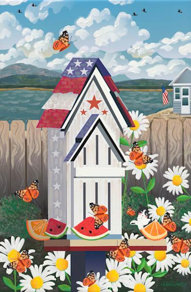 Patriotic Butterfly House Art   Julie Pace Hoff Gallery