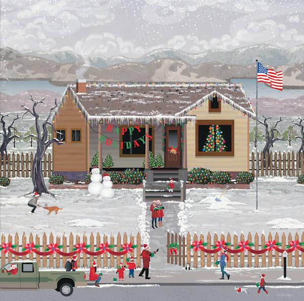 Modern American Christmas Carolers Art   Julie Pace Hoff Gallery