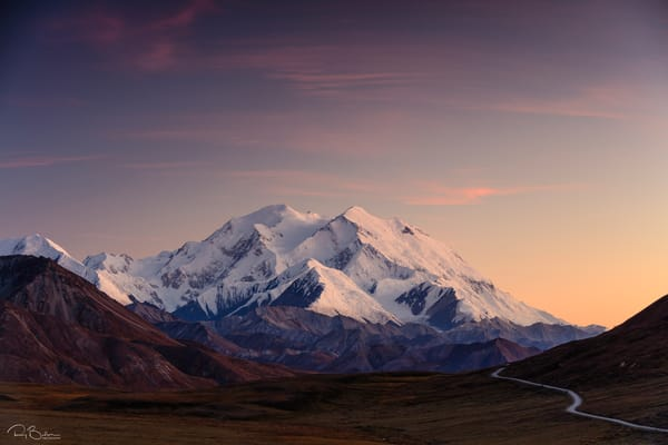 Sunset on Denali (formerly Mt. McKinley) from the Stony Hill Overlook in Denali National Park in Interior Alaska. Autumn. Evening.