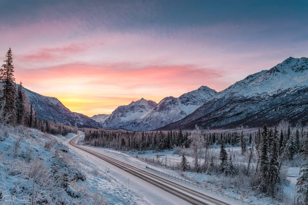 Dawn colors on Polar Bear Peak and Eagle Peak in Chugach State Park in Southcentral Alaska. Winter.