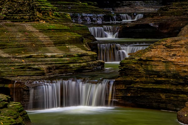 Watkins Glen stairway waterfalls photography prints