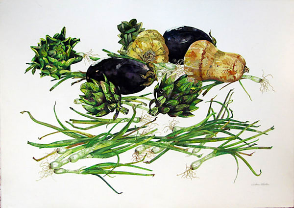Artichoke, Eggplant, Squash, Scallions