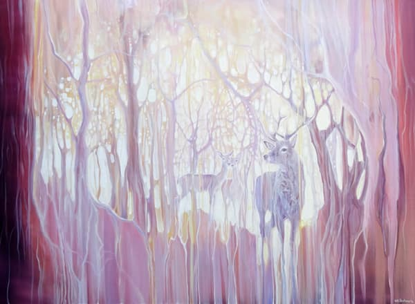 Large semi abstract oil painting on canvas of deer and stag in a magic forest