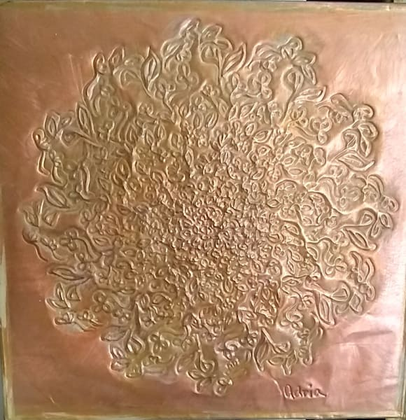 Gorgeous delicate Antiqued  Star Flower Copper Mandala