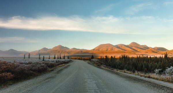 Sunrise along the park road near Teklanika in Denali National Park in Interior Alaska. Autumn.
