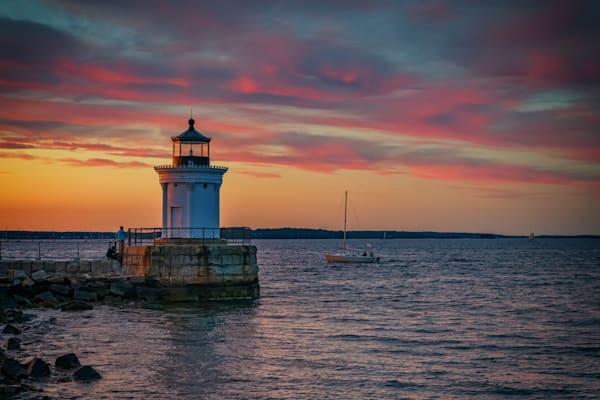 Red Skies at Portland Breakwater | Shop Photography by Rick Berk
