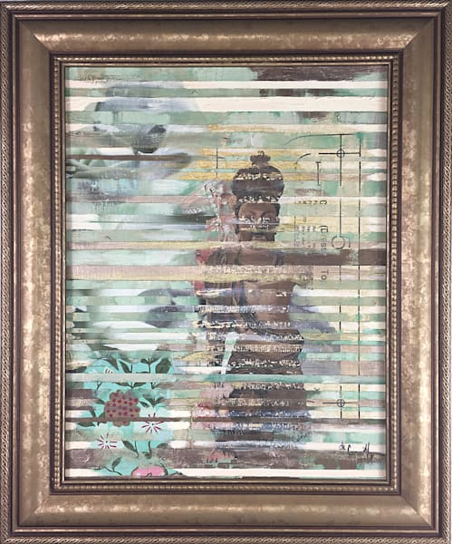 Original Mixed Media Abstract Buddha Painting on canvas