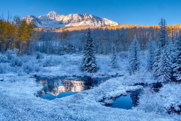 Mount Wilson Reflection In Fall Snow Photography Art   Peter Batty Photography