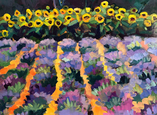 """""""Azulee' Afternoon"""" plein air oil painting of sunflowers and lavender in St. Paul de Baie Quebec by Monique Sarkessian."""