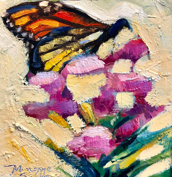 "Beautiful ""Butterfly Joys 3 plein air  expressionist oil painting by Monique Sarkessian."