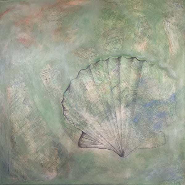 Shell Abstract 1' Original Mixed Media Shell Painting on canvas