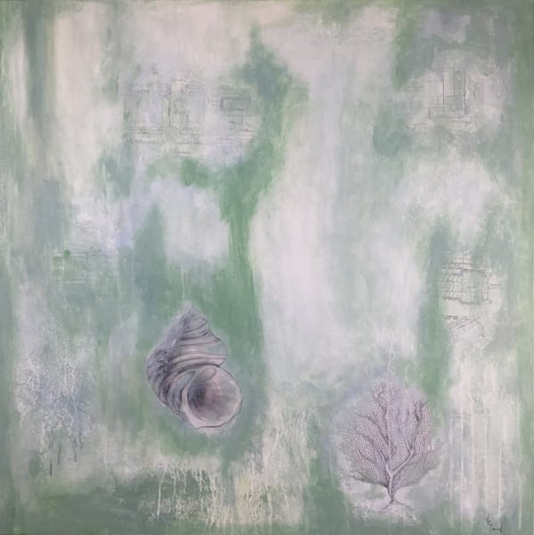 Shell Abstract 3' Original Mixed Media Shell Painting on canvas