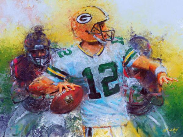 Aaron Rodgers painting   Sports artist Mark Trubisky   Custom Sports Art