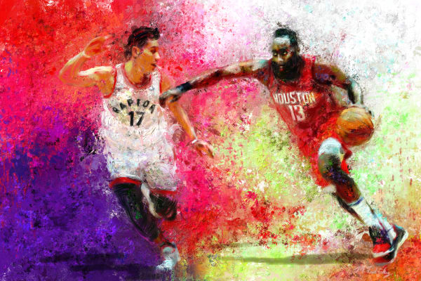 James Harden Painting | Sports artist Mark Trubisky | Custom Sports Art