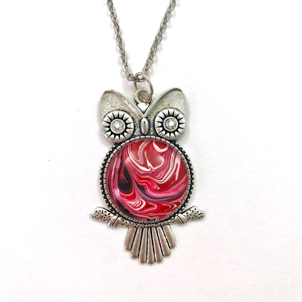 'Andy' Unique Original Art Owl Pendant. Black, Red, White | Deborah Younglao