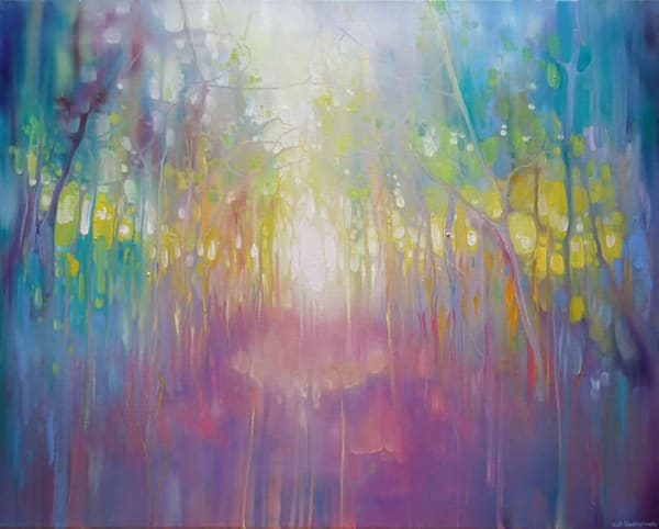 An abstract oil painting on canvas in vibrant rainbow colours of a path through a wood going towards the light in the distance.