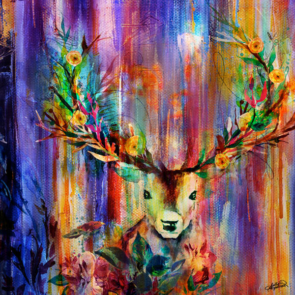 Enchanted deer with flower painting available in square format.