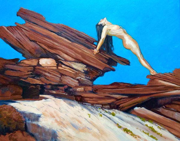 Red Rocks and the Female Figure Original Oil Painting